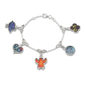 #Bracelet with Little Signs pendants. Sterling Silver, rhodium plated