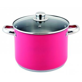 26cm Stockpot Delivered in a Contemporary Pink Colour 9 Litre Capacity Stainless Steel 0.6mm Body 3mm Encapsulated Base Spot Welded Handles Glass Lids Safely Used Upto Gas Mark 4 / 350f