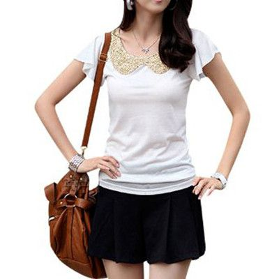 Ladies Flounced Sleeve Peter Pan Collar Casual Tee Shirt White S