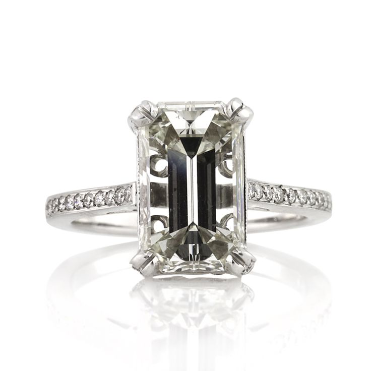 4 77ct emerald cut engagement anniversary ring