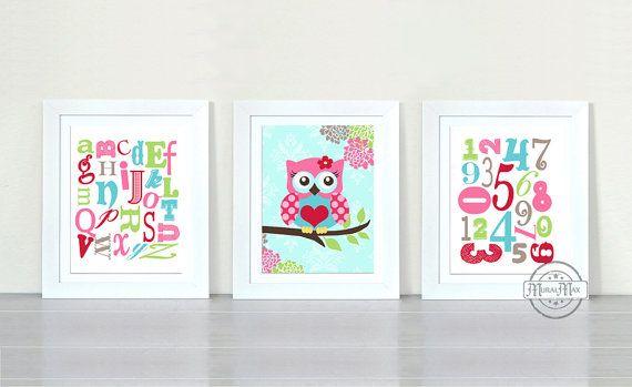 Owl Decor ABC NURSERY Print Nursery decor Owl by MuralMAX