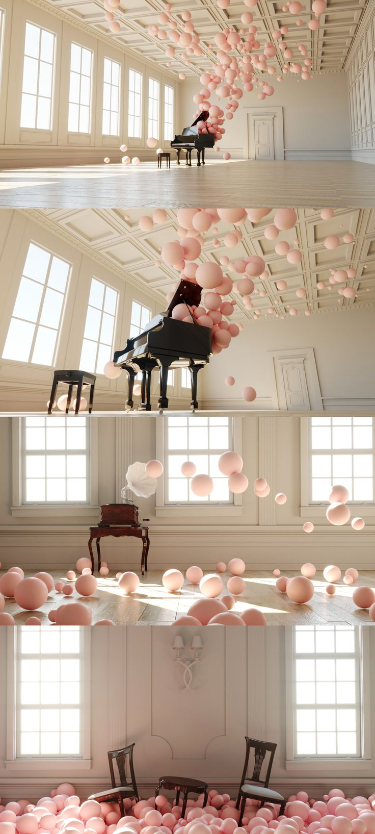 """In his delightful digital art series called """"Filling Spaces,"""" he shows what the sound might look like if we were capable of witnessing it in solid form, conveying how the immaterial splendor of a musical composition can suffuse an otherwise empty room. #music #art #photography #digitalart #inspiration #bubbles #pink #design #artlovers"""