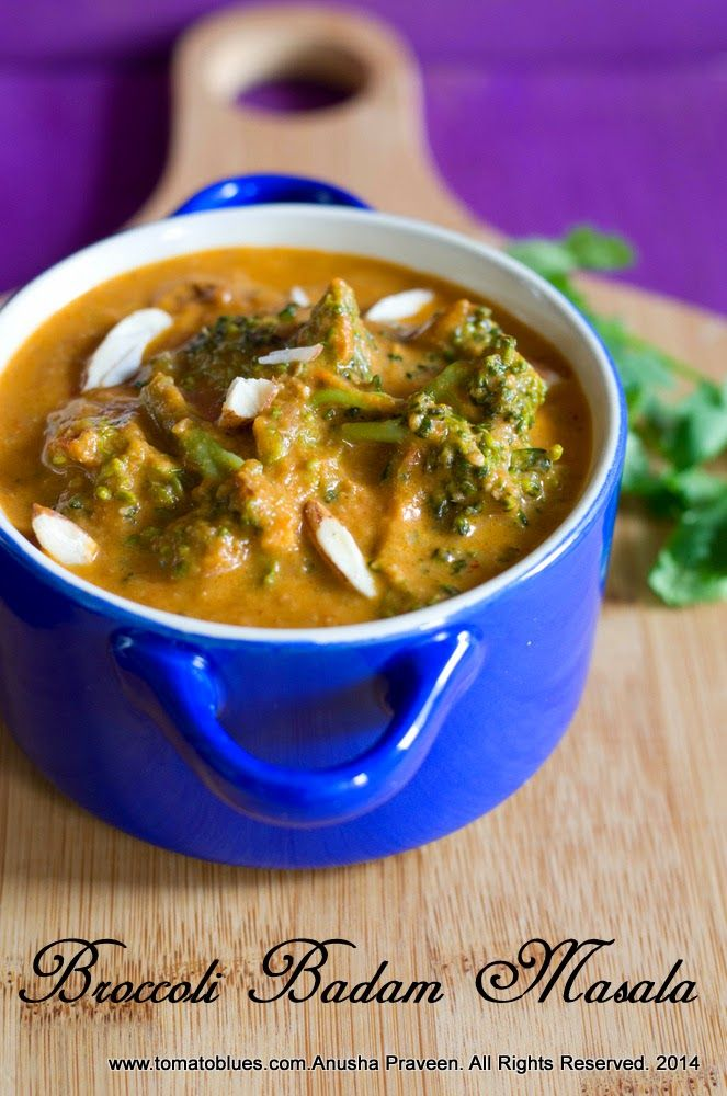 Broccoli Almond Masala, a creamy vegan gravy that is delicious with flatbreads and pilaf