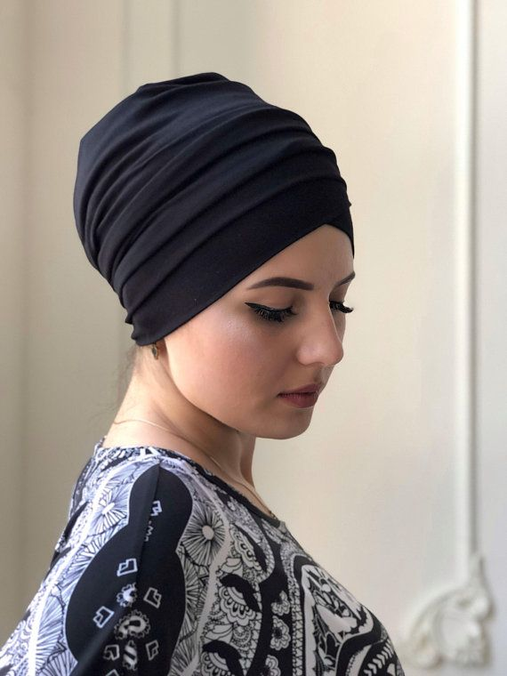 2 in one black hijab -jersey turban - volume ready turban - vintage hat -  elegant covering - sinar - bohemian headband - jewish b62997f18e7a