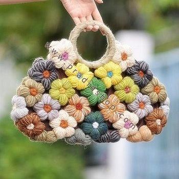 Crochet flower bag.