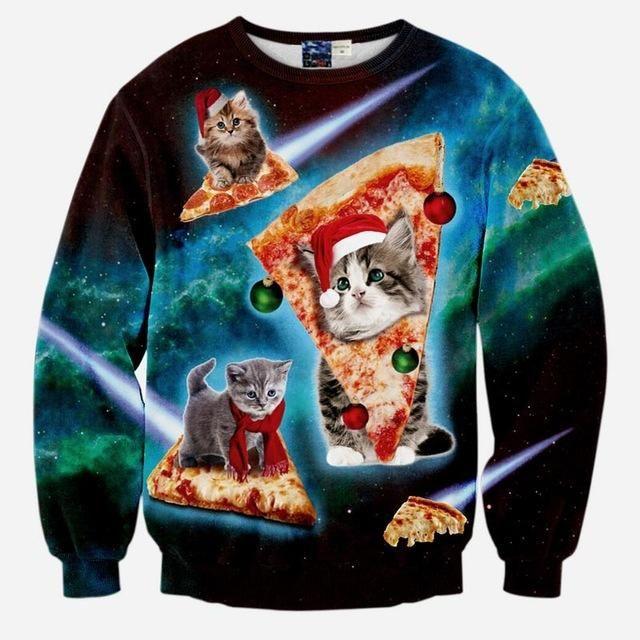 Christmas Pizza Cat Unisex Sweatshirt