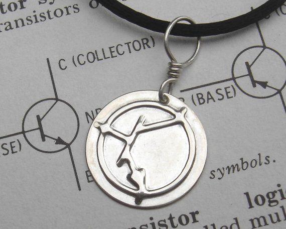 NPN Transistor Symbol Sterling Silver Pendant  Science