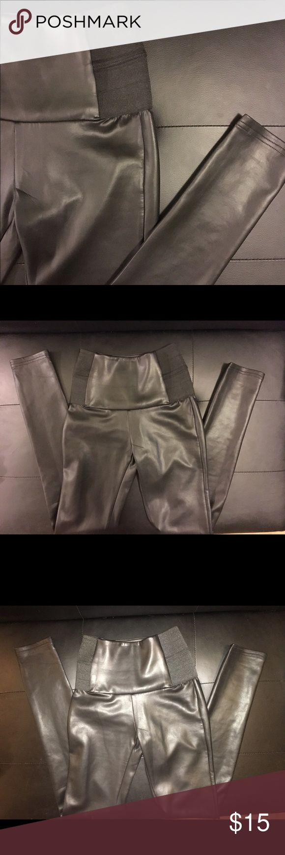 Leather tights🖤😈 Black leather tights. High waisted. Black bandage around waist gives you a flat tummy & sexy shape. Worn once, in great condition. Bundle to save 🖤 Pants Leggings
