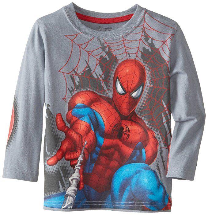 Amazon Com Marvel Little Boys Spiderman Long Sleeve T Shirt Grey 2t Fashion T Shirts Clothing Kids Spiderman Costume Boys Graphic Tee Comic Clothes