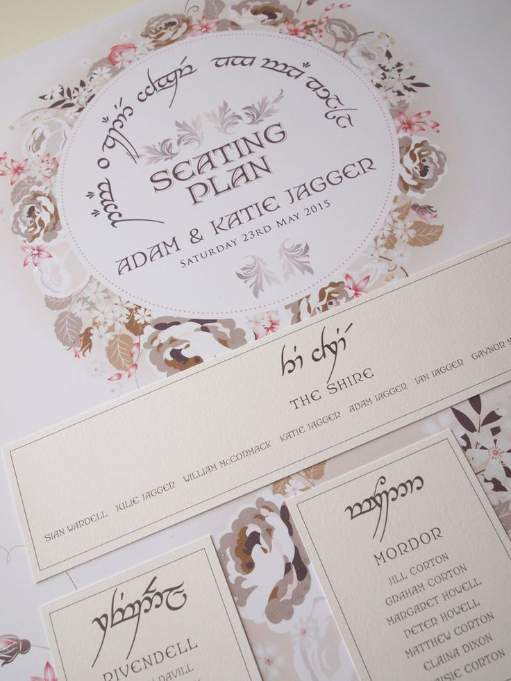 Elvish / Lord of the Rings Wedding Seating Plan - Featuring a circle of flowers in natural and taupe colours with a hint of pink, finished with a touch of sparkle. Elvish script was also used for the bride and grooms names and for the Table Name Cards.