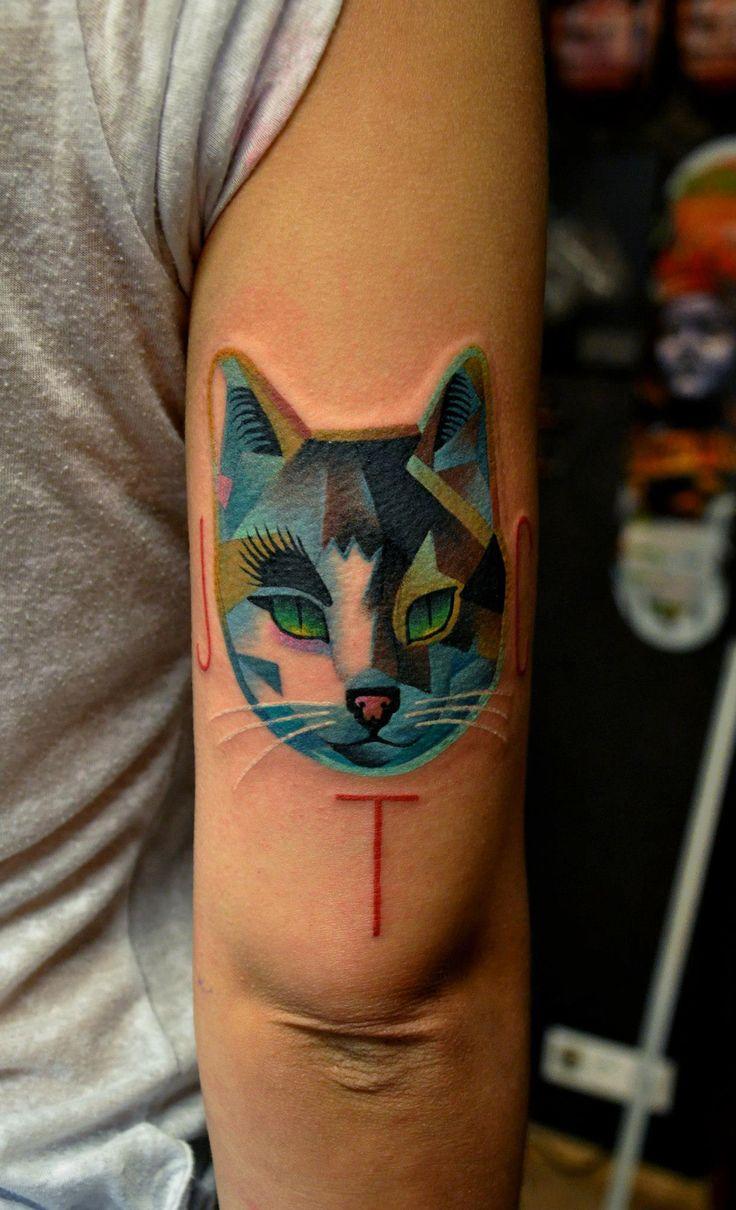 Color cat tattoo by Marcin Aleksander Surowiec
