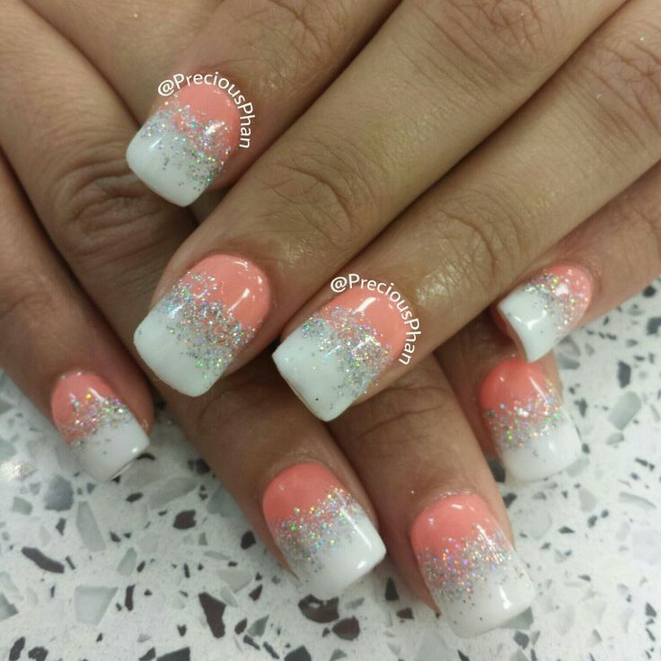 Ombre, coral and white nails Products Pinterest