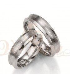 Ασημένιες βέρες γάμου με διαμάντι - breuning - 8023-8024
