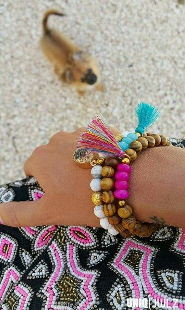 Handmade 'Island girl ' bracelets gold by UNIQ|JWLZ, photobombed by my lovely dog Muffin  www.facebook.com/uniq-jwlz
