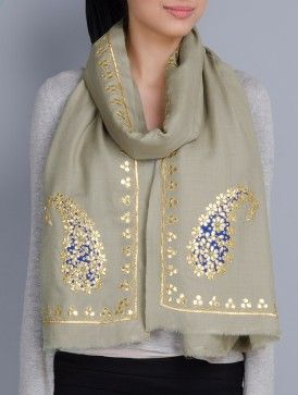 Light Olive Cashmere Wool Gota Patti Hand Embellished Stole write to us at hello@richadesigns.in