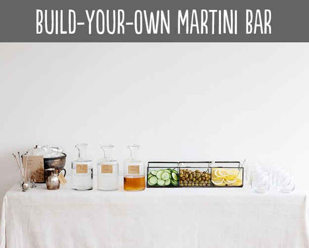 9 Ways To Set Up A DIY Drink Bar And Blow Your Friends' Minds Martini bar #blingbar #DIY #liasophia www.liasophia.com/amybortz