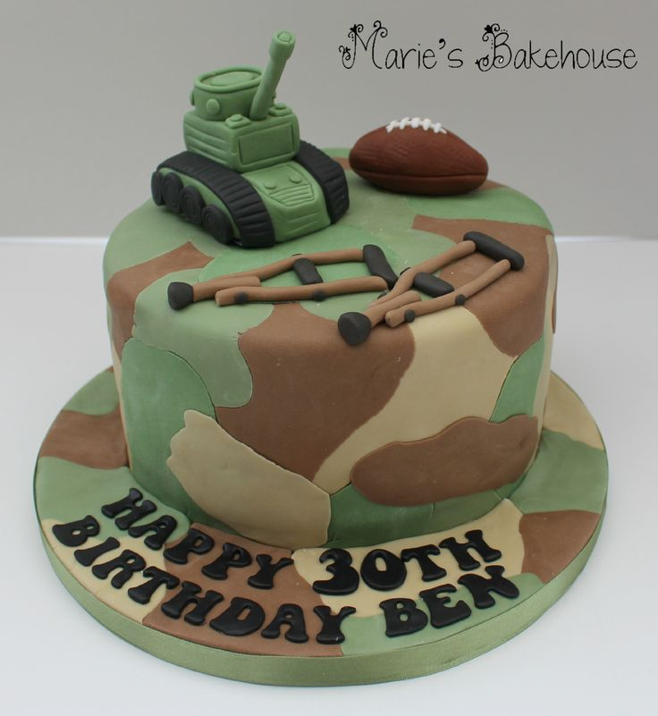 Army camouflage birthday cake with hand modelled tank rugby ball