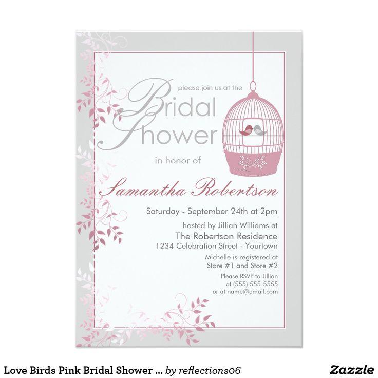 Love Birds Pink Bridal Shower Invitations