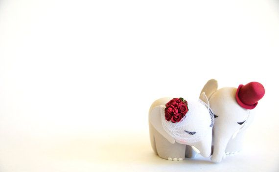 Elegant Elephant Wedding Cake Topper