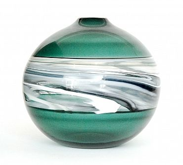 Fieldings Auctioneers | Fine Art, Antiques & Collectables | Stourbridge, West Midlands | Lots Large contemporary studio glass vase by LoCo Glass, titled Jupiter Rising, of spherical form with narrow collar neck decorated with a central band of whiplash white and grey to the green and grey ground, engraved signature, limited edition, 5 of 50.