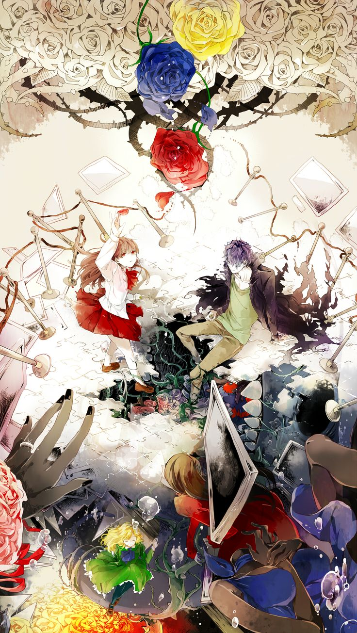 Tags: Fanart, Pixiv, Fanart From Pixiv, rain_drops-ame, Ib, Garry, Ib (Character), Mary (Ib), Lady in Red, Blue Doll, Death of the Individual
