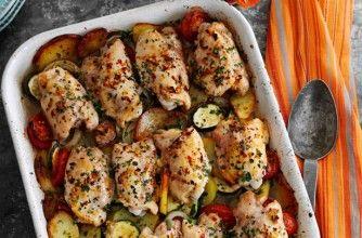 Slimming World's rustic garlic chicken tray bake