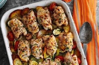Slimming World's rustic garlic chicken tray bake