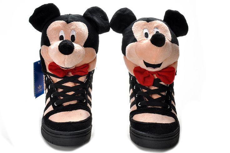 Adidas Jeremy Scott Bear GS - Chaussure Adidas Pas Cher Pour Femme/Enfant Noir/Blanc/Rouge