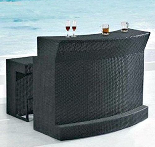 Outdoor Patio Bar Set 3 Piece 1 Glass Top Bar Table 2 Cushioned Bar Stools PE Resin Wicker Rattan -- Details on product can be viewed by clicking the VISIT button