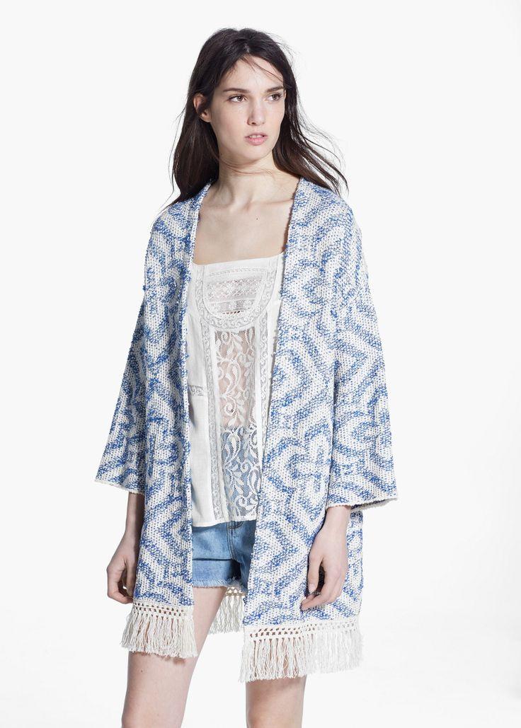 Kimono flecos jacquard