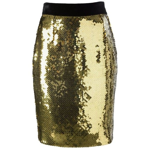Moschino Vintage sequined pencil skirt found on Polyvore featuring skirts, bottoms, moschino, pencil skirt, юбки, grey, button front skirt, grey sequin skirt, sequin skirts and metallic pencil skirt