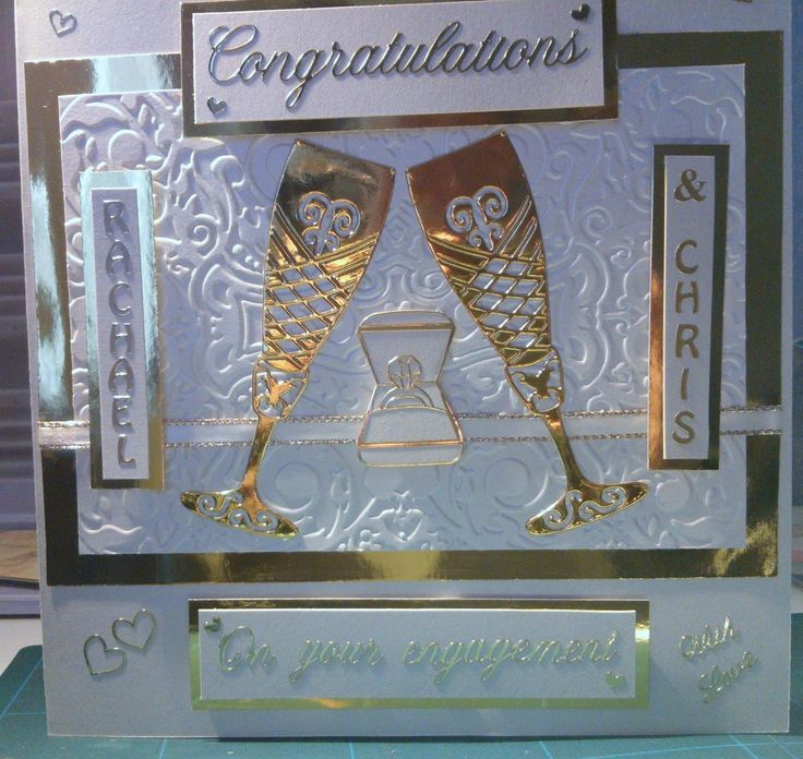 """Made by Christine Cummings - """"This card was made using the Tattered Lace large champagne glass, embossed white Centura Pearl card and Gold Mirror card from Create and Craft, then finished with gold peel-offs and white and gold ribbon."""" #tatteredlace #cardmaking #congratulations"""