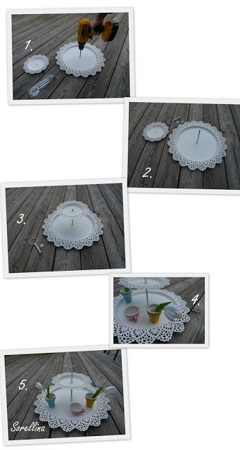 IKEA Hackers: Plates to Tiered Serving Tray or Pretty Jewelry Cosmetic Organization/Display