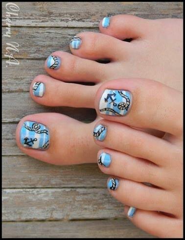 nautical anchor design toe nail designs pinterest