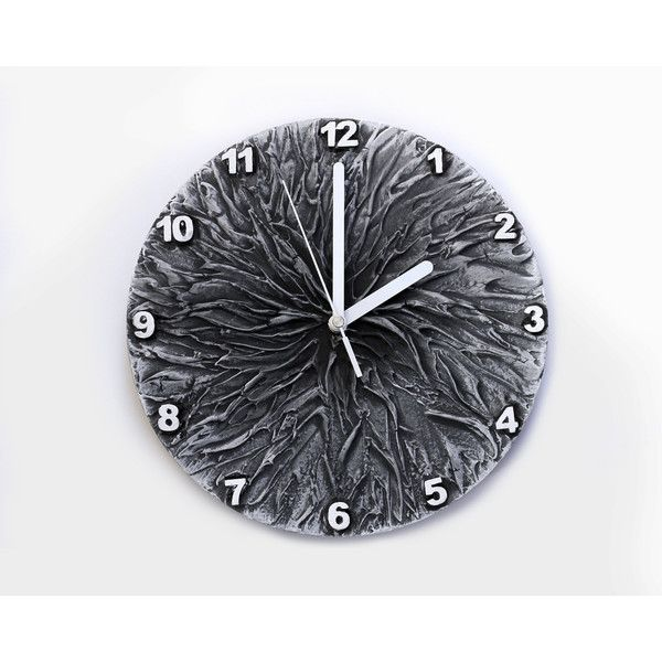 GREY WALL CLOCK, Art wall clock, Unique wall clock, Grey Clock (14.245 HUF) ❤ liked on Polyvore featuring home, home decor, clocks, gray home decor, grey home decor, hand clock, gray clock and handmade clocks