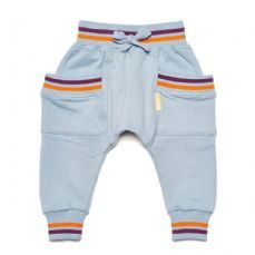 BOYS&GIRLS Pocket Harems Grey:   Made from 100% GOTS certified organic cotton for extra feel-good factor. These sweatpants are super cool with a rainbow cluff and pocket detail. Team with the Shooting Star Crew for maximum statement!! Comfy, hardwearing and stylish, what more can  you want from a pair of joggers?!  Organic and Fairtrade cotton. Machine washable, not suitable for adults.