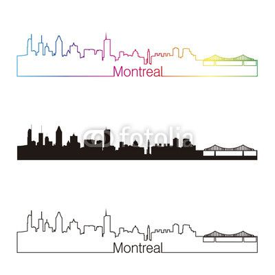 image vectorielle Vector: Montreal skyline linear style with rainbow