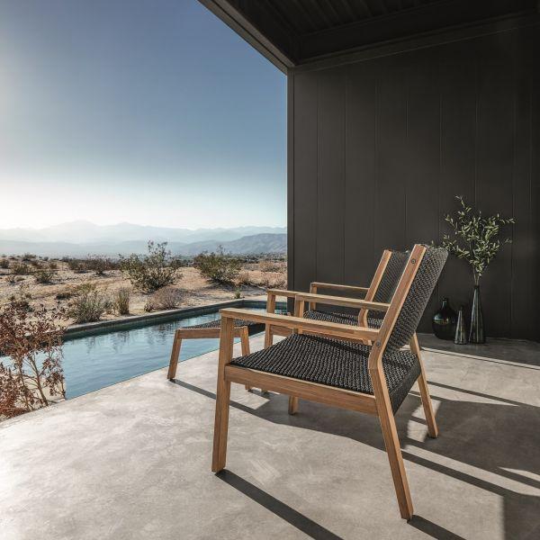 FormOutdoors - Live Outdoors Gloster Maze Footstool #outdoorfurniture #teak #lounger #wood #modern #black #outdoorseating
