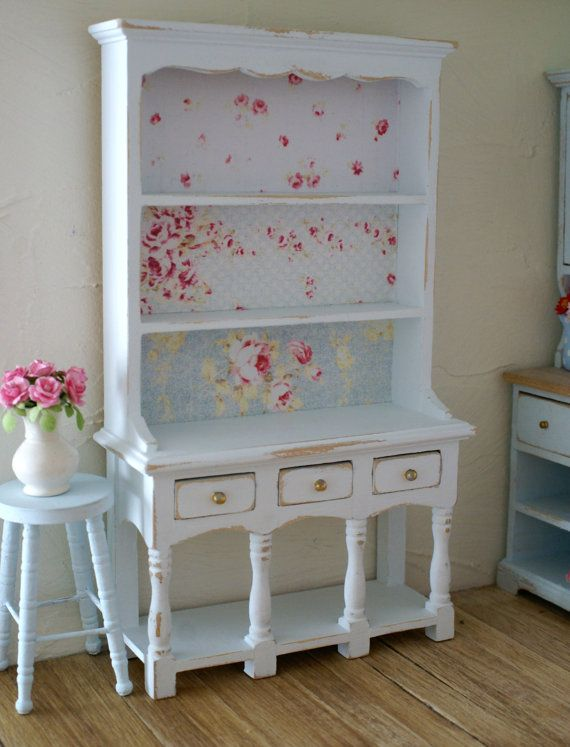 Beautiful Pale Blue Shabby Chic 1:12 Scale Rose Dresser/Hutch For your Dollhouse