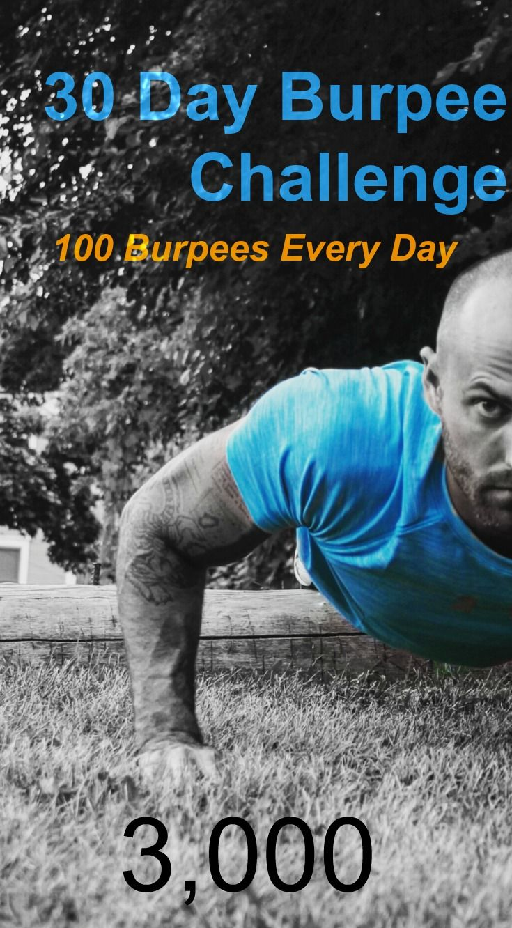 Who is ready for a burpee challenge? Try 100 burpees everyday for 30 days. #burpees #exercise #fitness #challenge