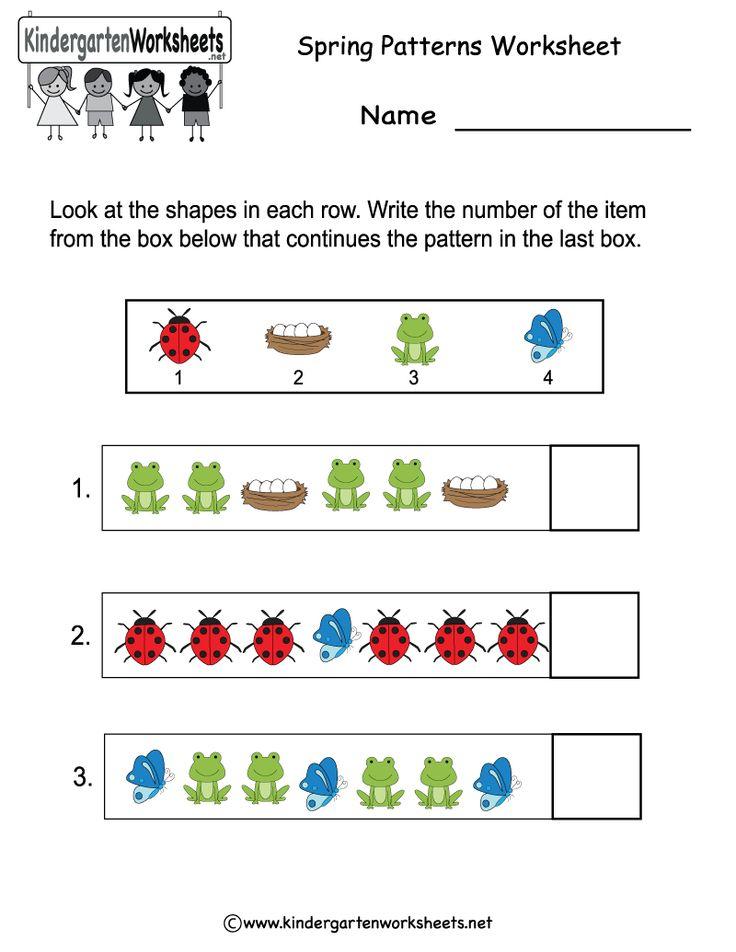 Kindergarten Spring Patterns Worksheet Printable Spring
