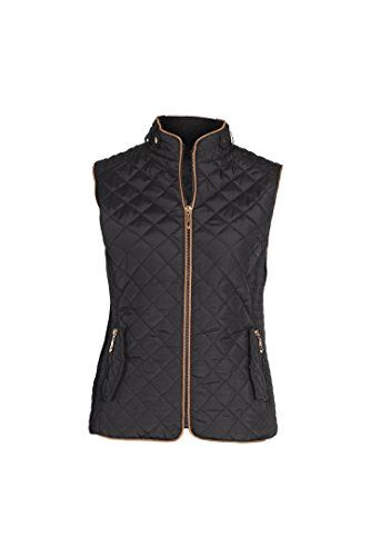 Women's Fashion Vests - Lee Hanton Womens Plus Size Slim Fit Quilted Zip Up Fur Padded Jacket Vests >>> Learn more by visiting the image link.