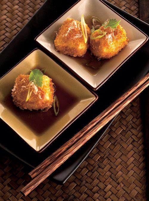 Tofu frit et bouillon comme un dashi (agedashi tofu) Recettes | Ricardo