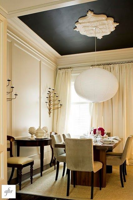 Black Ceiling in white room. Dining room.  dark color lowers ceiling, but also 'raises' it by making it disappear: Dining Rooms, Interior, Dark Ceiling, Idea, Black Ceiling, Diningroom, Ceilings