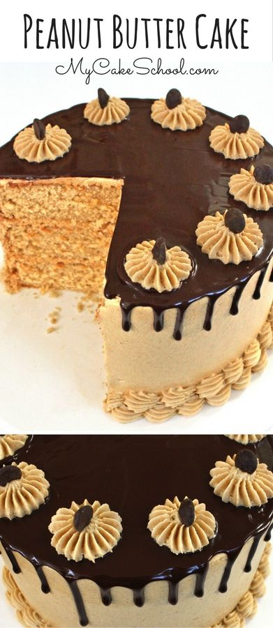 The most AMAZING Peanut Butter Cake Recipe with Peanut Butter Frosting and Ganache Drip! Recipe by MyCakeSchool.com. via @mycakeschool