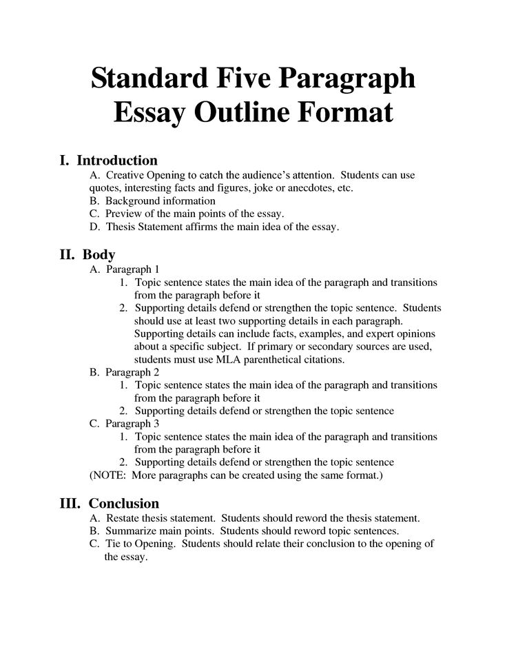 Standard 5 paragraph essay outline format high school for Essay outline template for high school