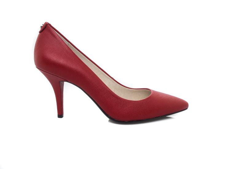 MICHAEL KORS - Saffiano leather décollété medium heels - Scarlet red - Elsa-boutique.it <3 #MK #MichaelKors #Kors