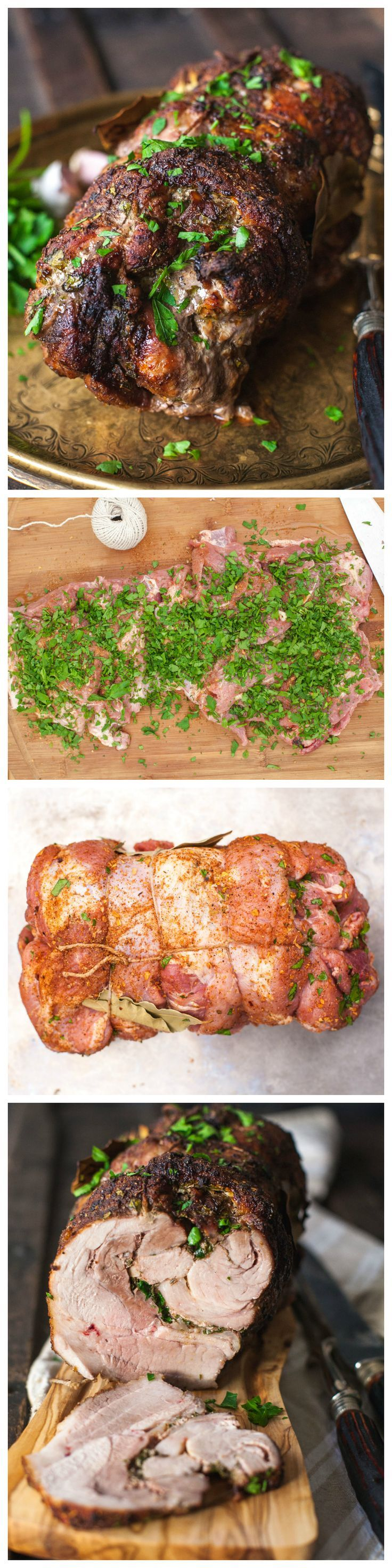 The juiciest pork roast stuffed with herbs and garlic and rubbed with aromatic spices.