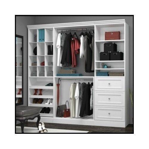 Wood-Storage-Closet-Organizer-Wardrobe-Walk-In-Armoire-Shoe-System-Bedroom-White