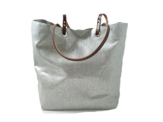 Metallic Silver Tote Bag Casual Tote Bag by IndependentReign, $142.00 Etsy
